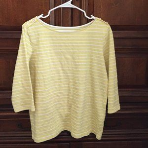 3/4 sleeve striped yellow top